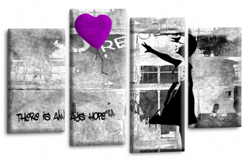 Banksy Wall Art Canvas Purple Balloon Girl Picture Love Peace Multi Panel